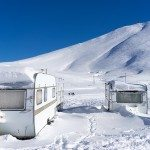 Trailers Buried in Wintery Snow