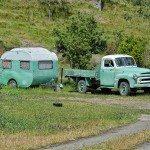 Vintage Green Camper in California