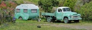 Vintage Green Camper in California