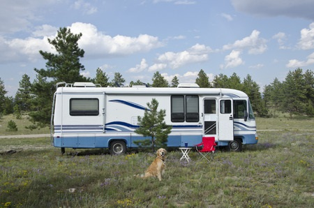 Camper with Dog Sitting in Front
