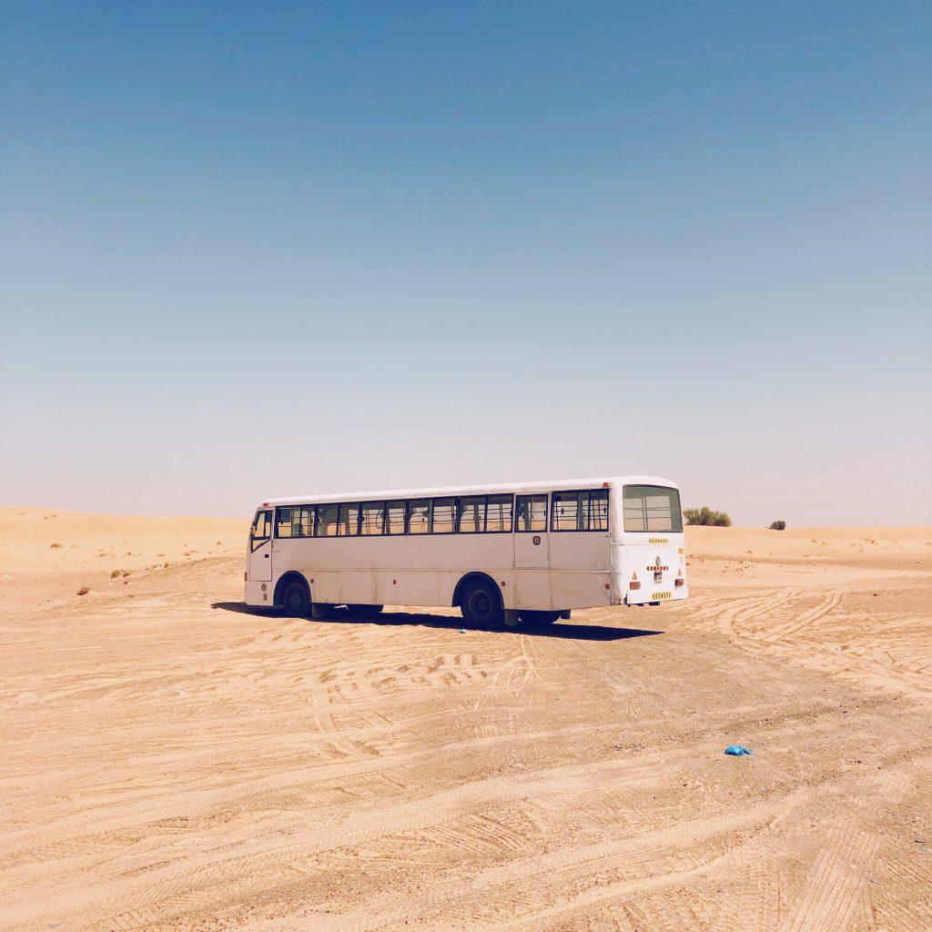 School bus converted into camper